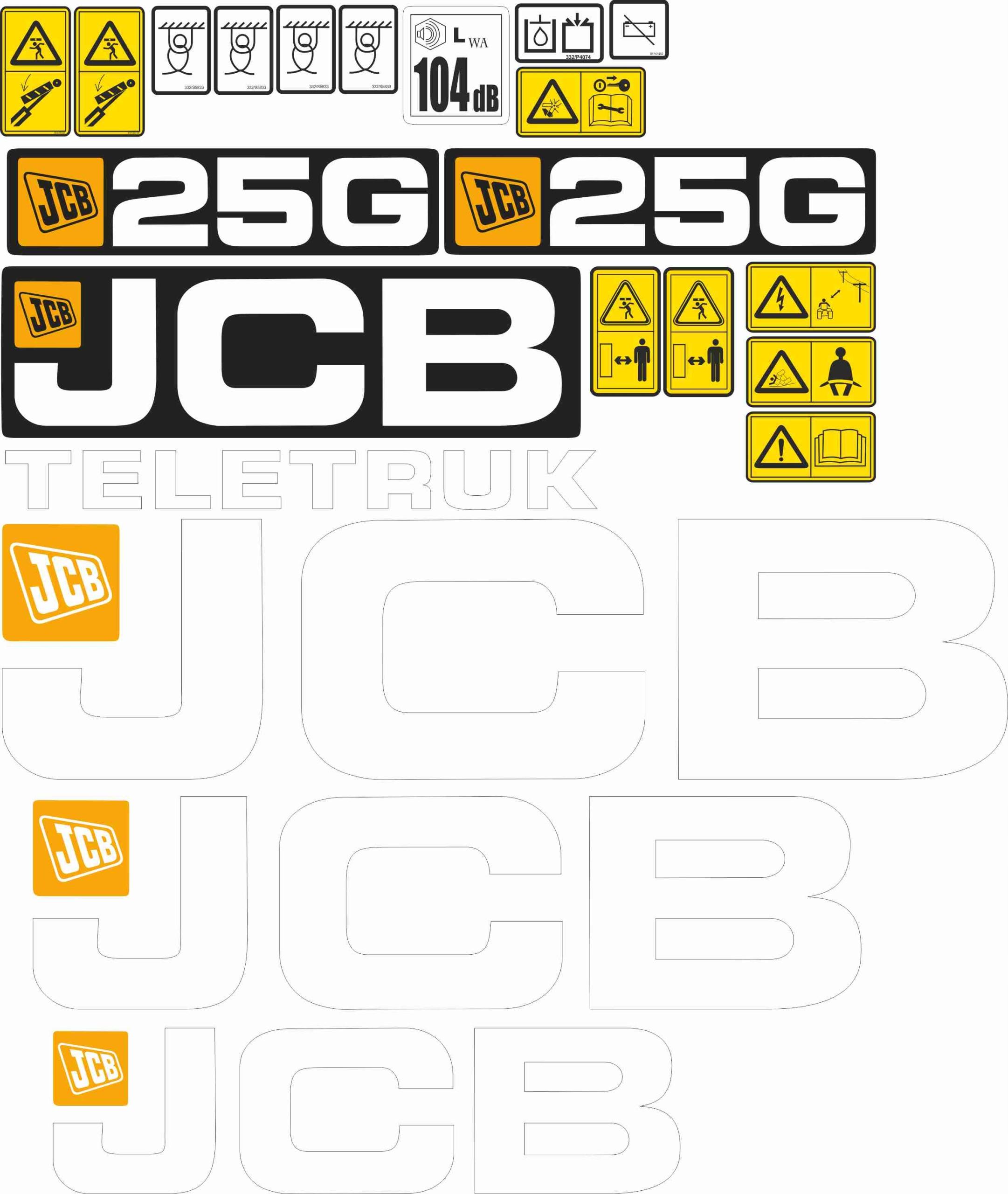 НАКЛЕЙКА СТИРАЛЬНАЯ JCB 20G; 25G; 30G; Тележка 35G