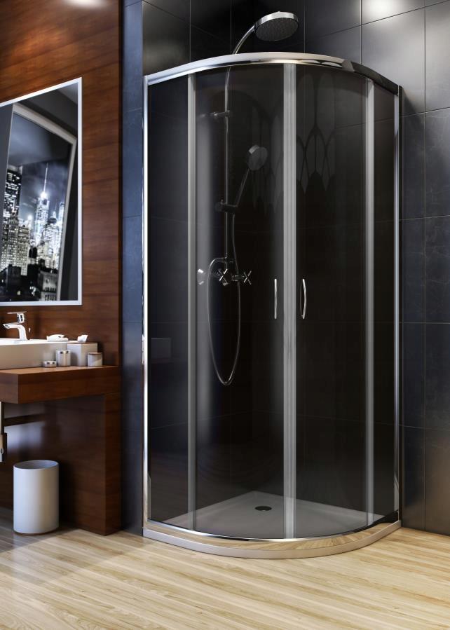 Santo, polkruhový sklenený, 80 cm sprchovací kút so sprchovou vaničkou