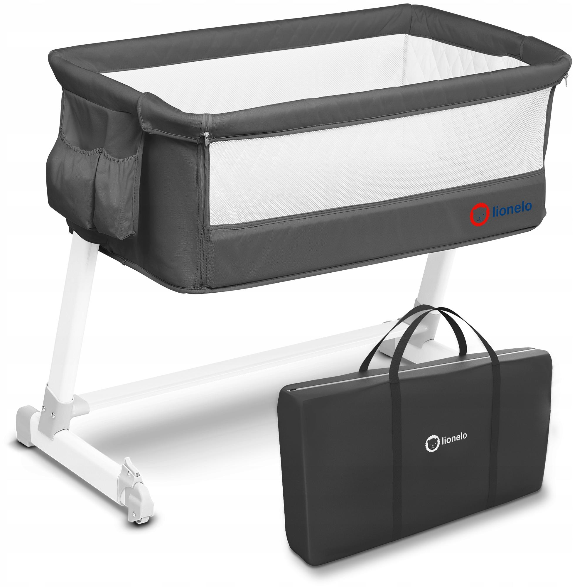 Łóżeczko dostawne Lionelo Theo Dark Grey Waga produktu z opakowaniem jednostkowym 11 kg