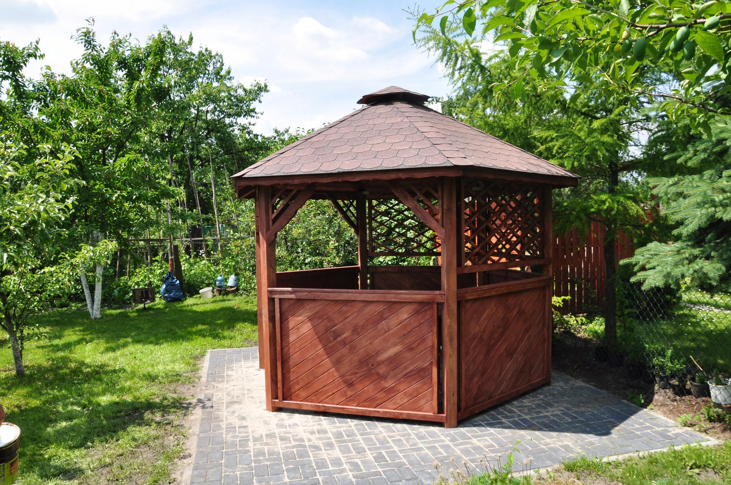 Altana Altanka Ogród Drewniana Malowanie Gont
