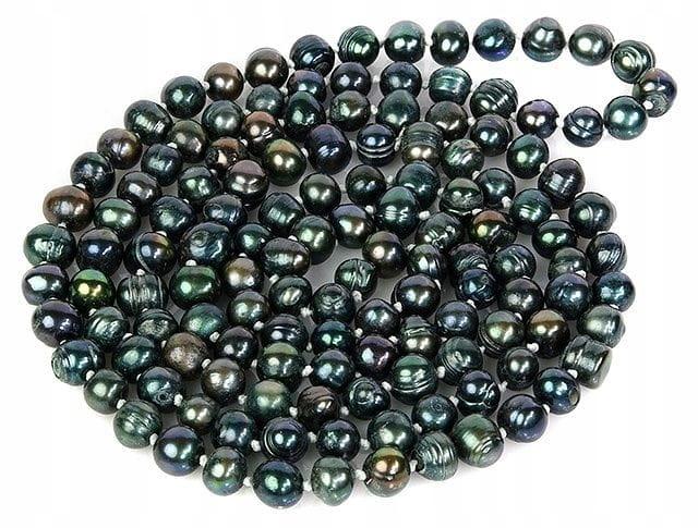 PRÍRODNÉ perlový náhrdelník 8 mm, čierna, 120 cm