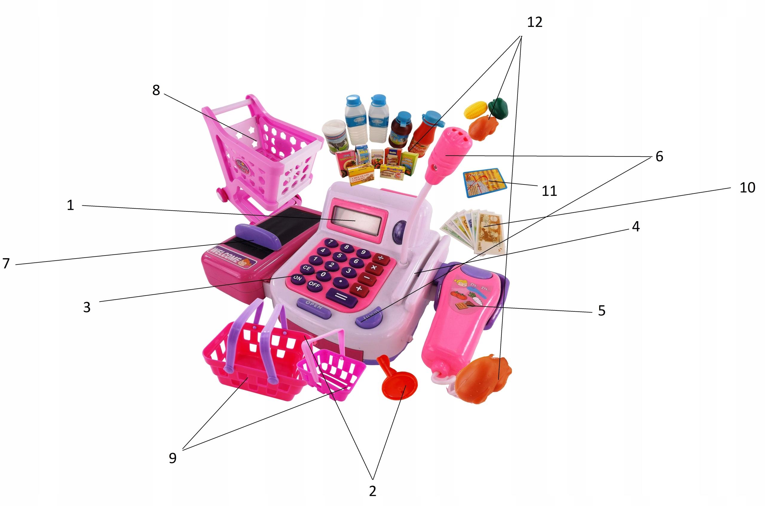 DUŻY ZESTAW ! KASA SKLEPOWA KOSZYK kalkulator 23F Kolor dominujący odcienie różu