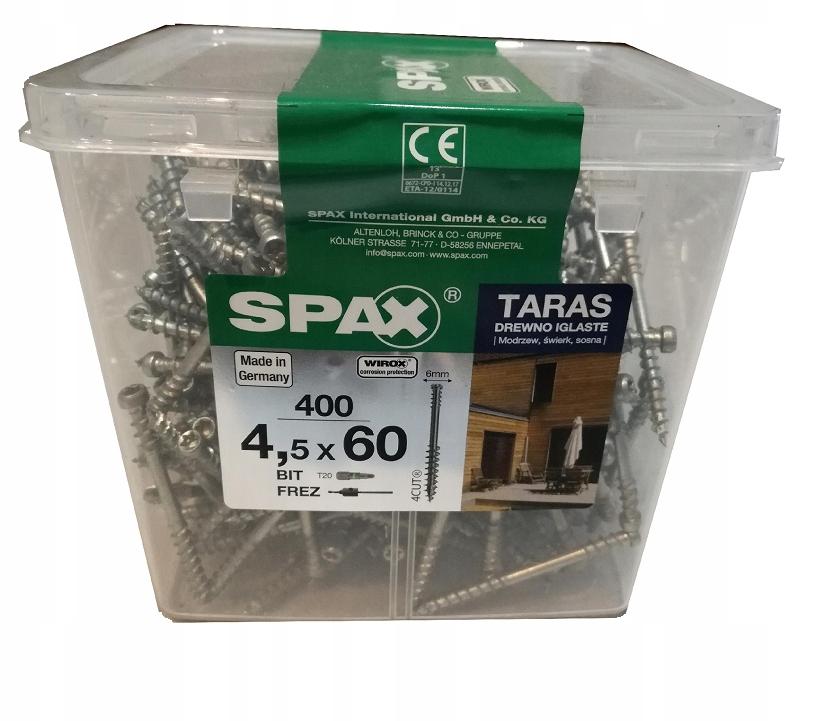 Skrutky pre terasa SPAX WIROX 4,5*60 400szt