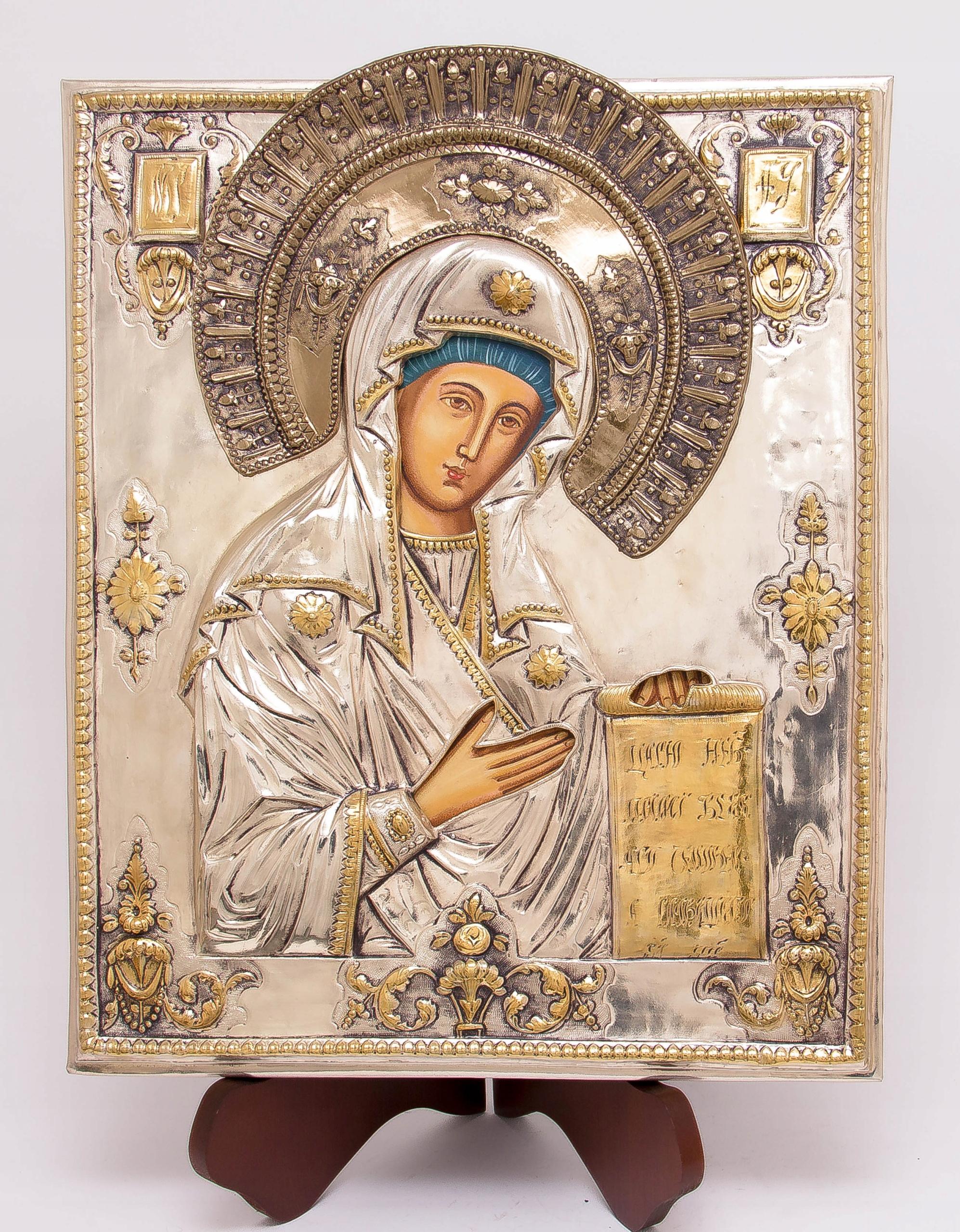Ikona Matki Bożej Bogolubskiej SREBRO ZŁOTO nr 39 Rama bez ramy