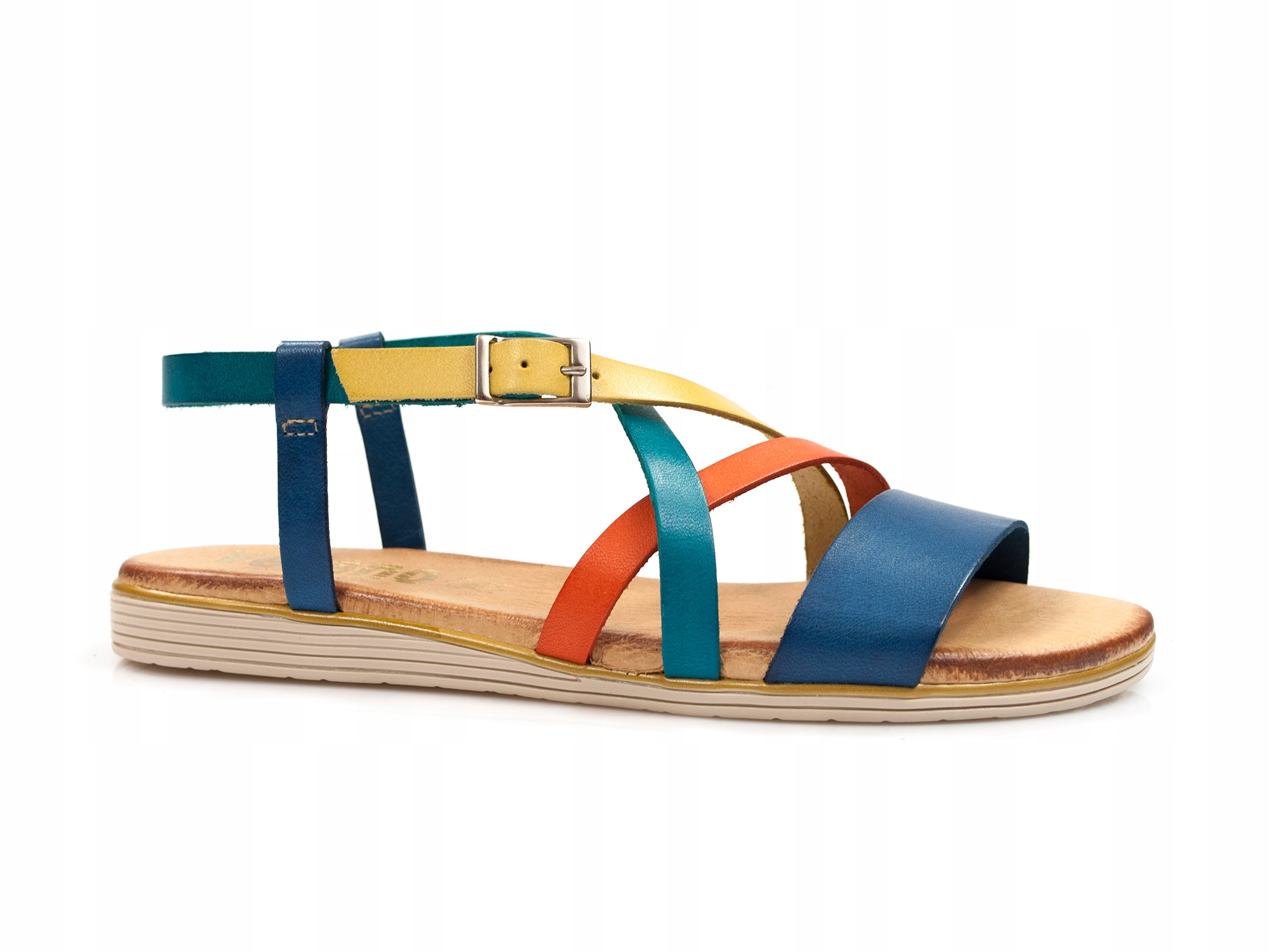 Купить разноцветные женские сандалии на плоской римская леди на Otpravka - цены и фото - доставка из Польши и стран Европы в Украину.