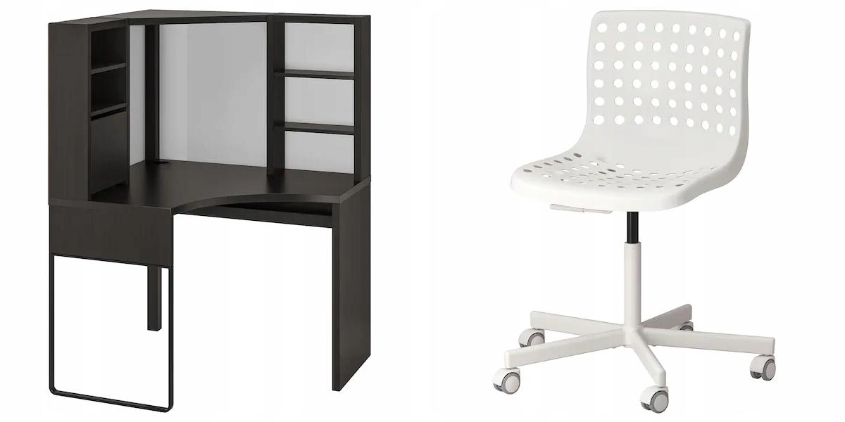IKEA MICKE Stôl + SKALBERG biela SPORREN Stoličky