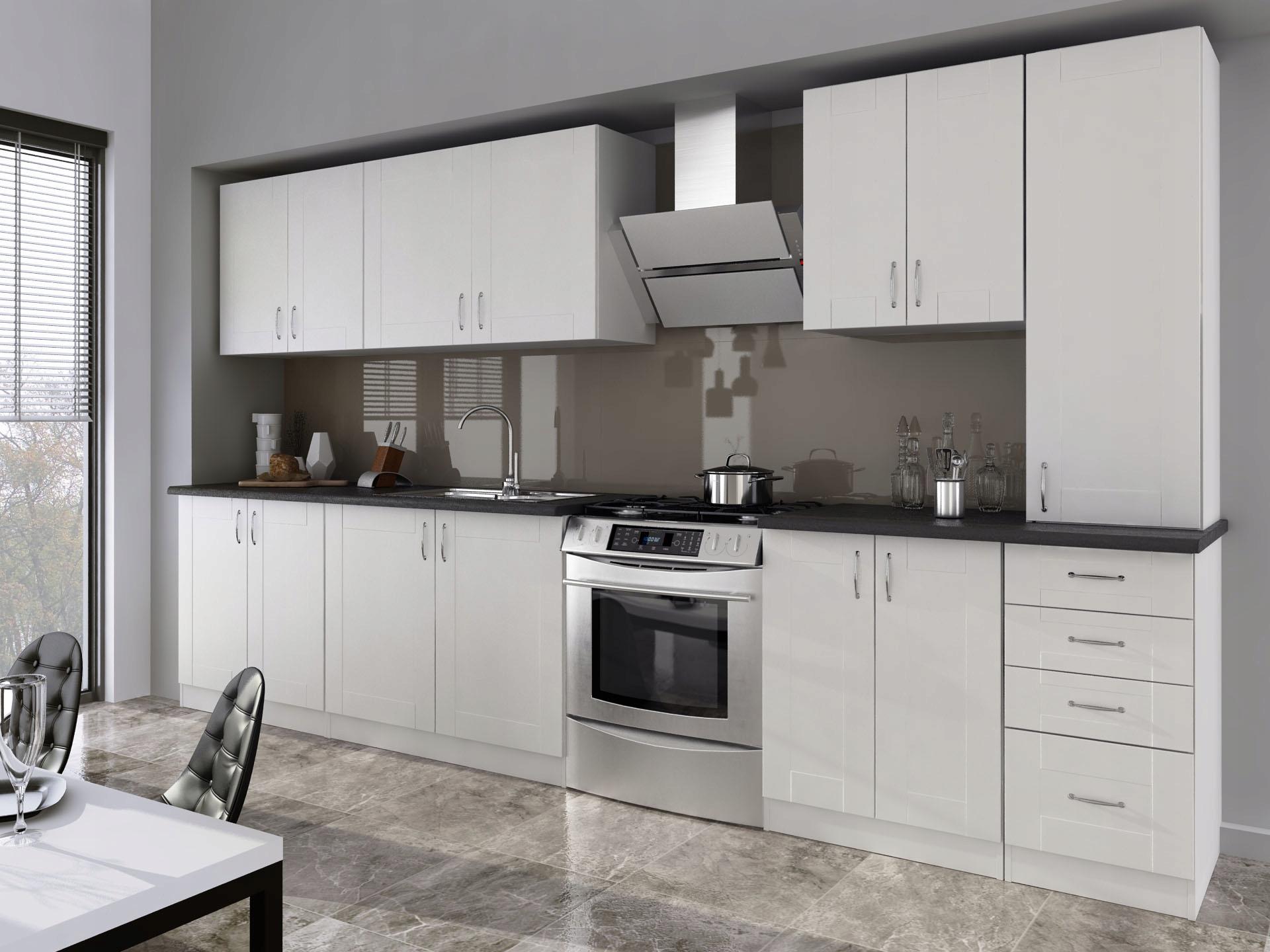 Kuchyňa - 3,00 m, biela, moderná/retro, mlyn