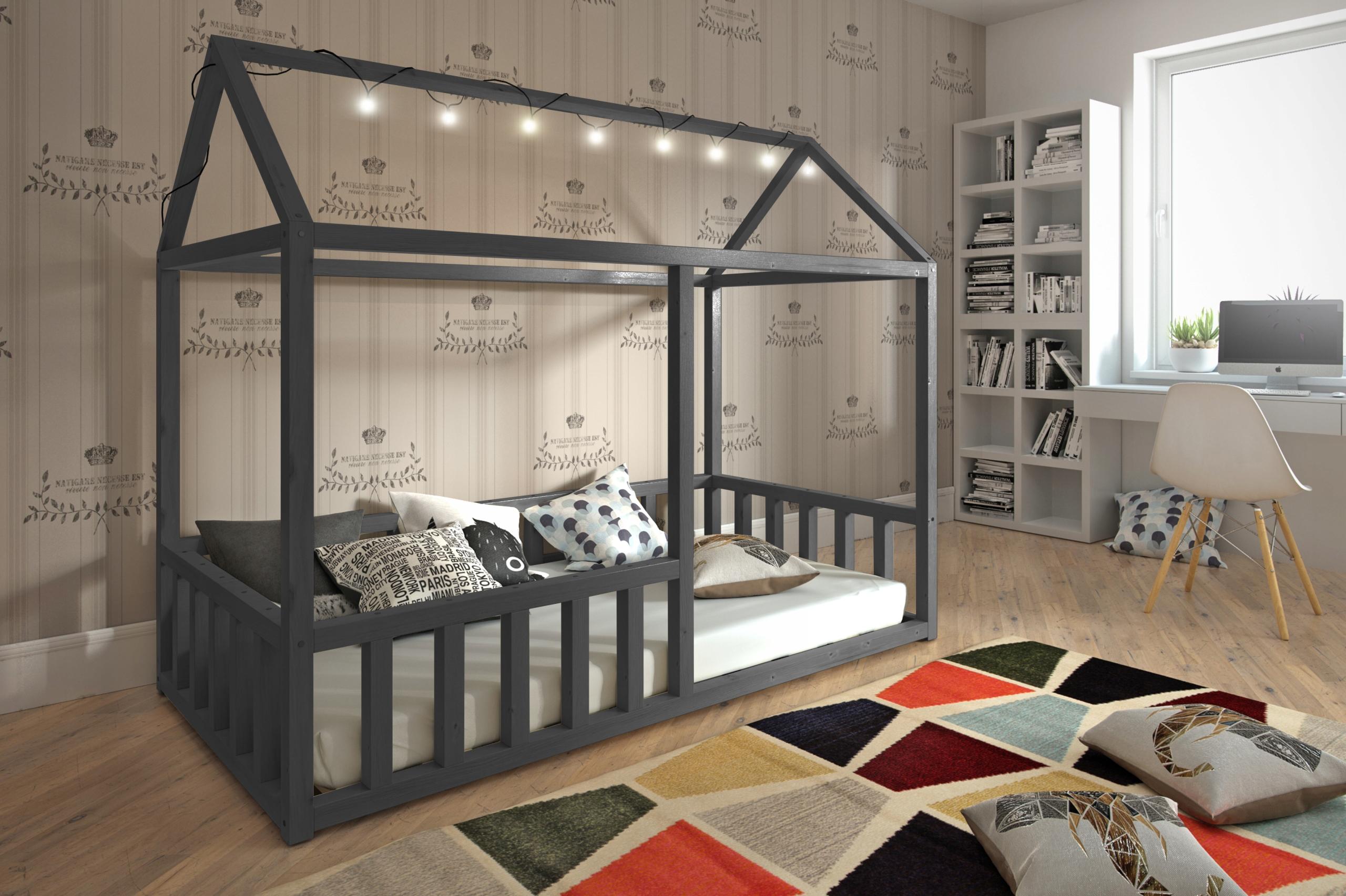 Łóżko/łóżeczko''DOMEK''160x80 parterowe- grafitowy