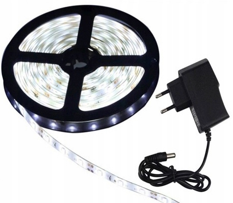 TAPE WHITE COLD LED SMD 5m WATERPROOF POWER SUPPLY