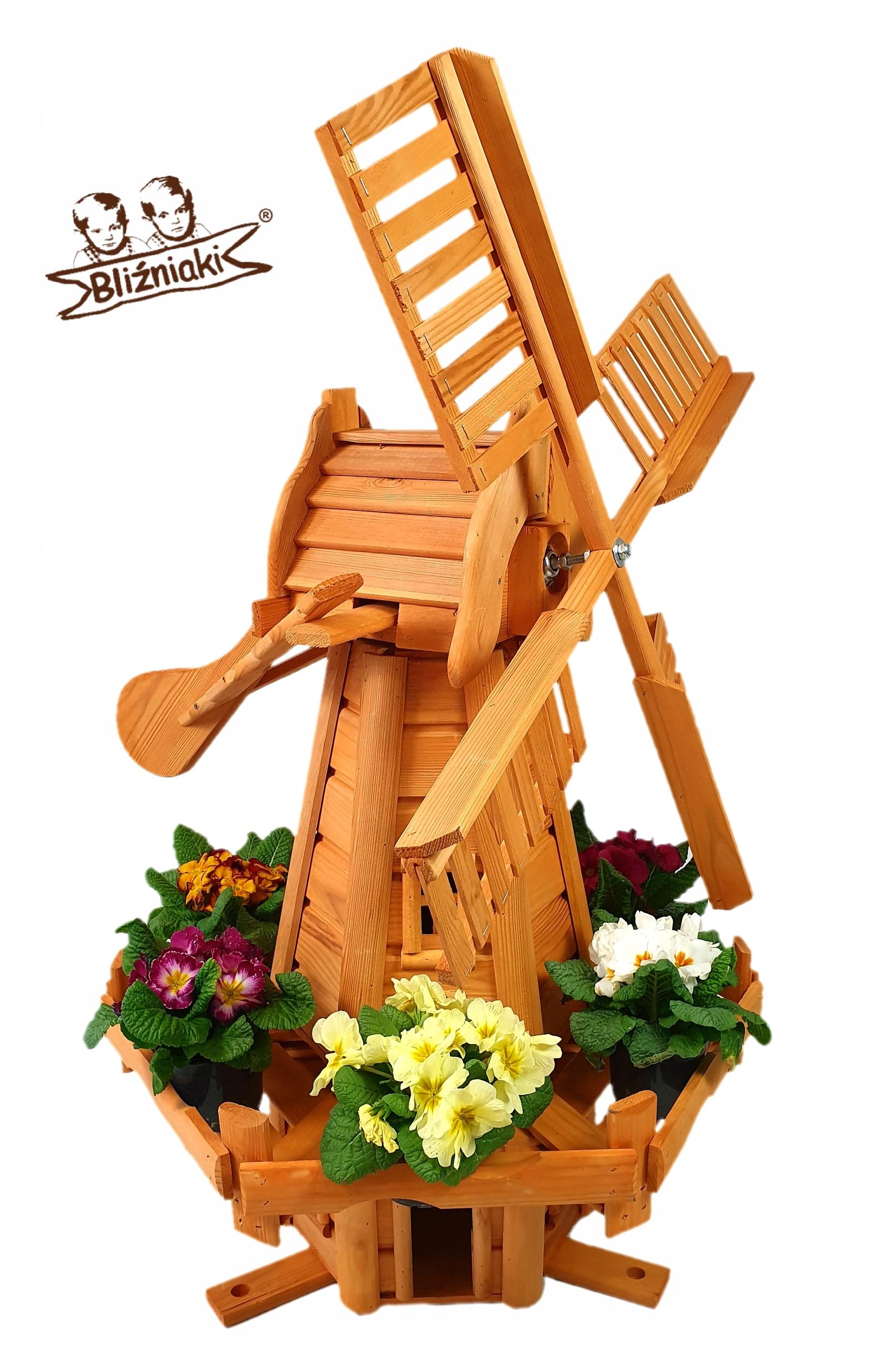 Veterný mlyn Záhradný Drevený veterný Mlyn 112 cm