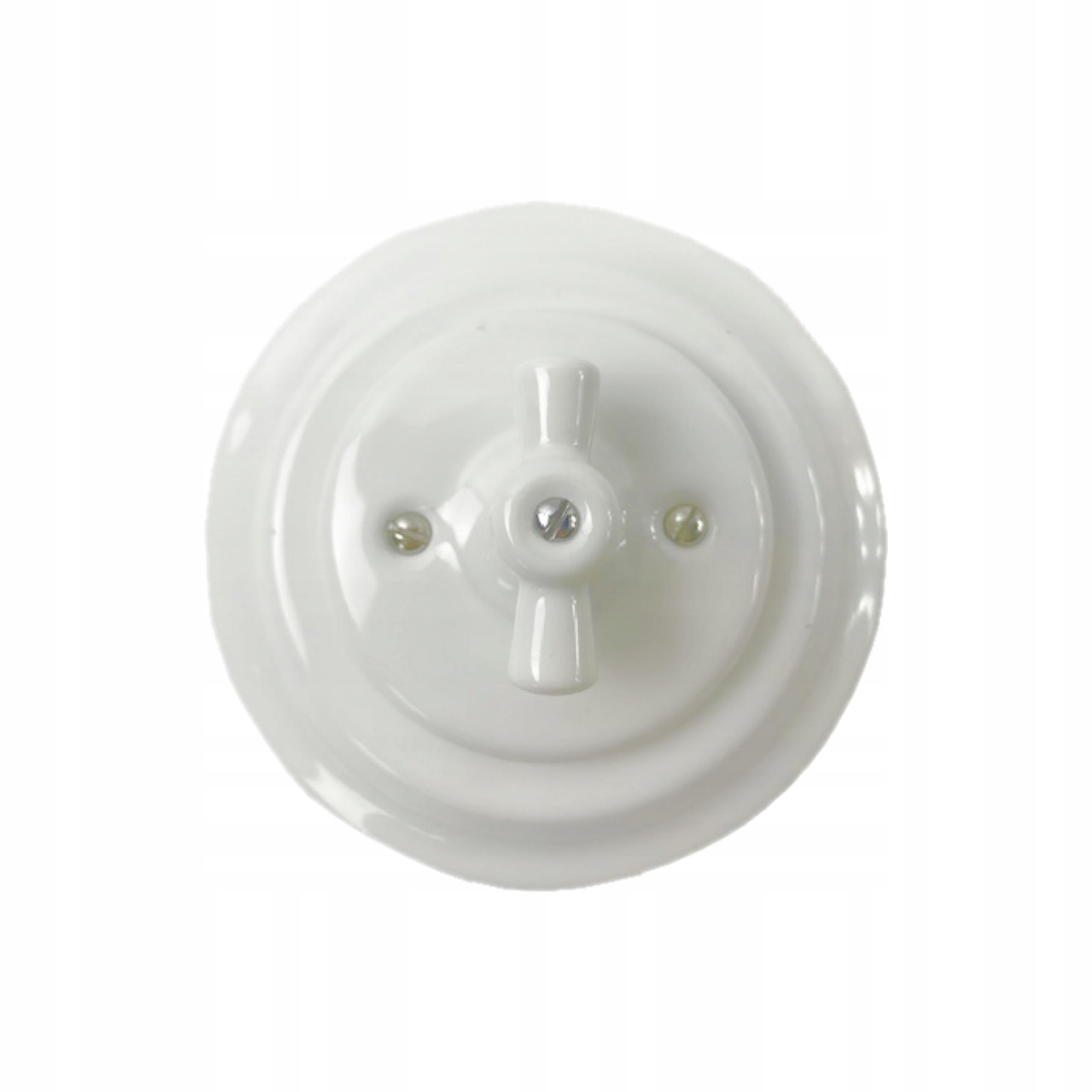Light switch ANTICA retro biele keramické