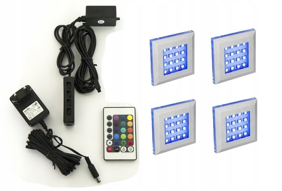 5 punktowe oświetlenie LED SQUARE RGB + pilot
