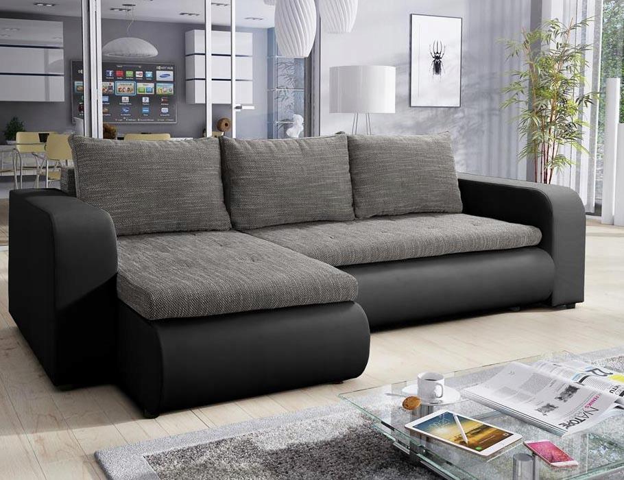 Современный угловой диван-кровать BROOKLYN серый
