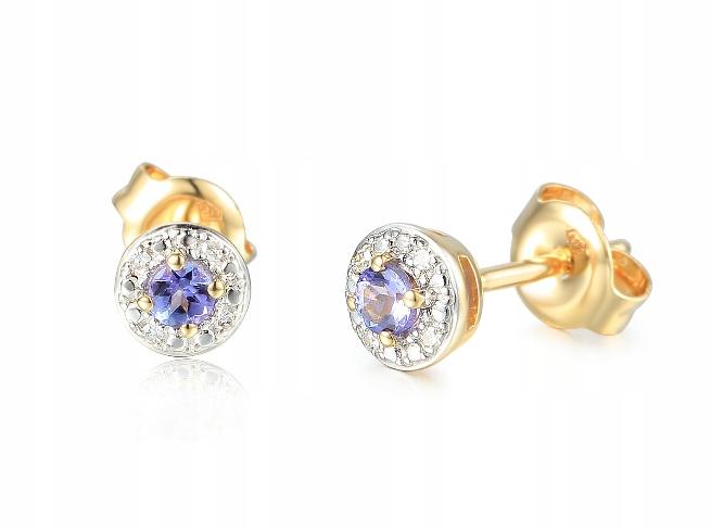 Zlaté Náušnice s Diamantmi a Tanzanitem E69341