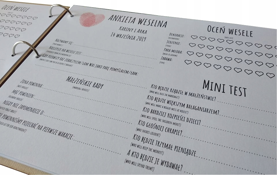 Księga gości weselnych z ankietami na ŚLUB WESELE