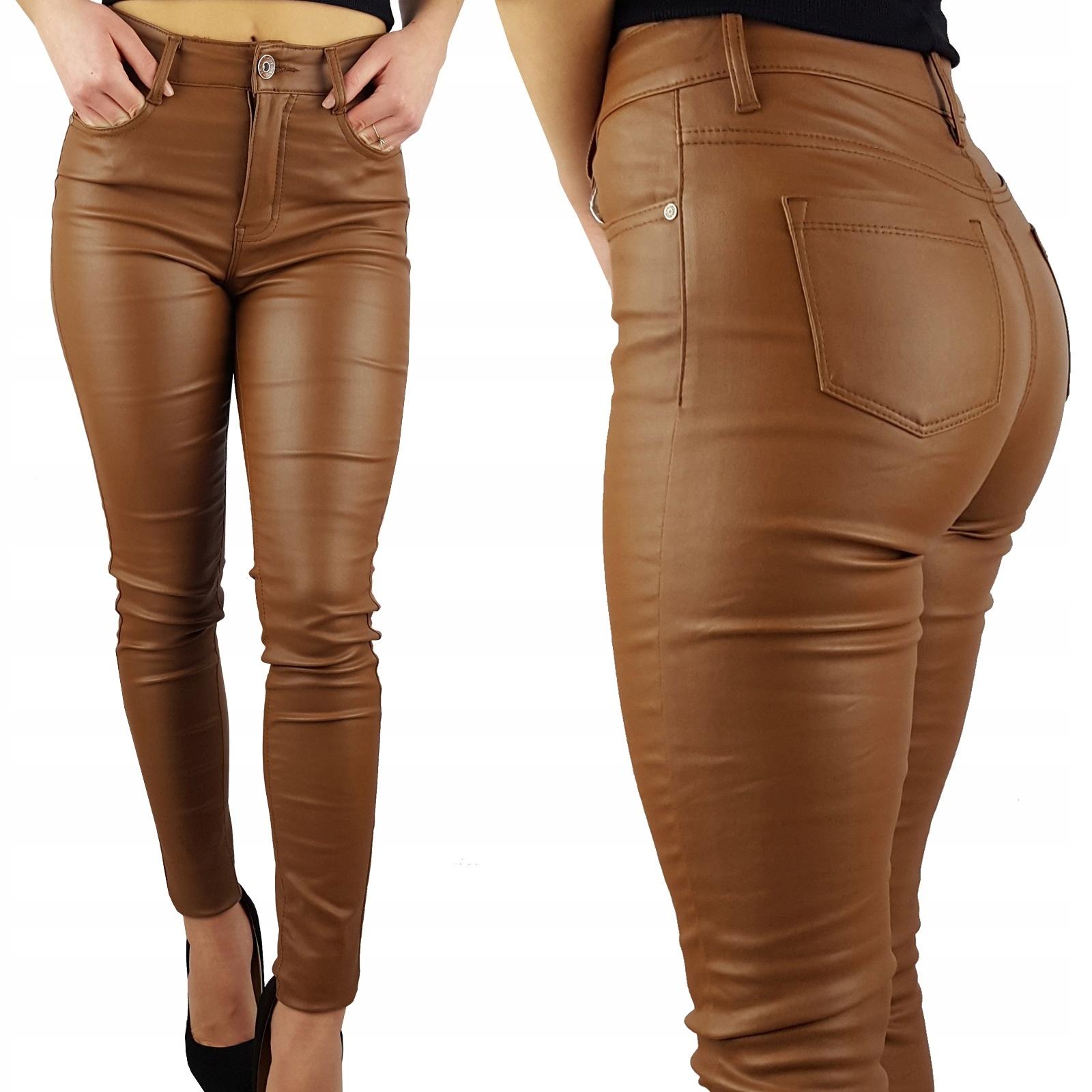 Ocieplane Damskie Spodnie Modelujące Skóra Brązowe