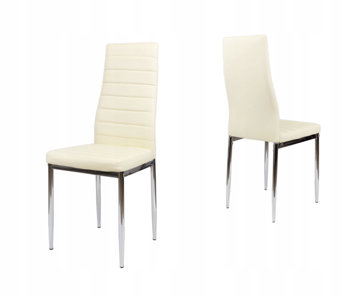 Kremowe krzesło do kuchni ekoskóra KS001 KR chrom