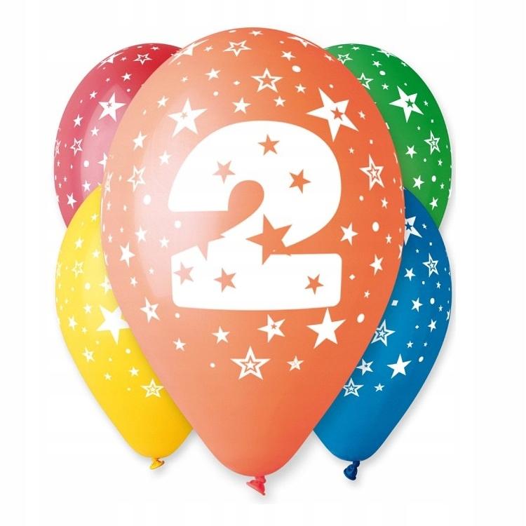 Balony Urodzinowe z Nadrukiem-Cyferka Nr 2- 5 szt.