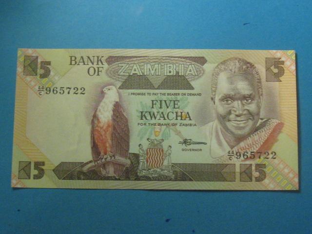 Zambia Banknot 5 Kwacha 1980-88 UNC P-25d
