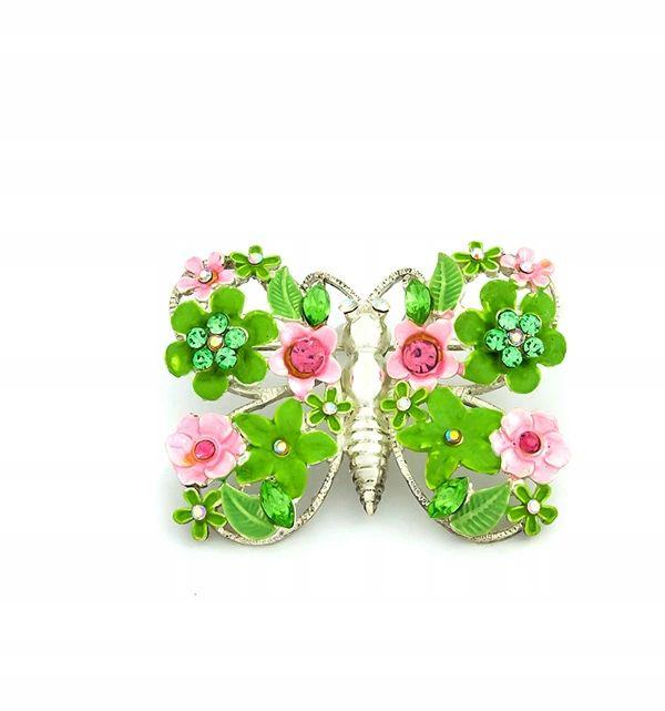 Broszka Motyl Kwiatuszki I Cyrkonie Green