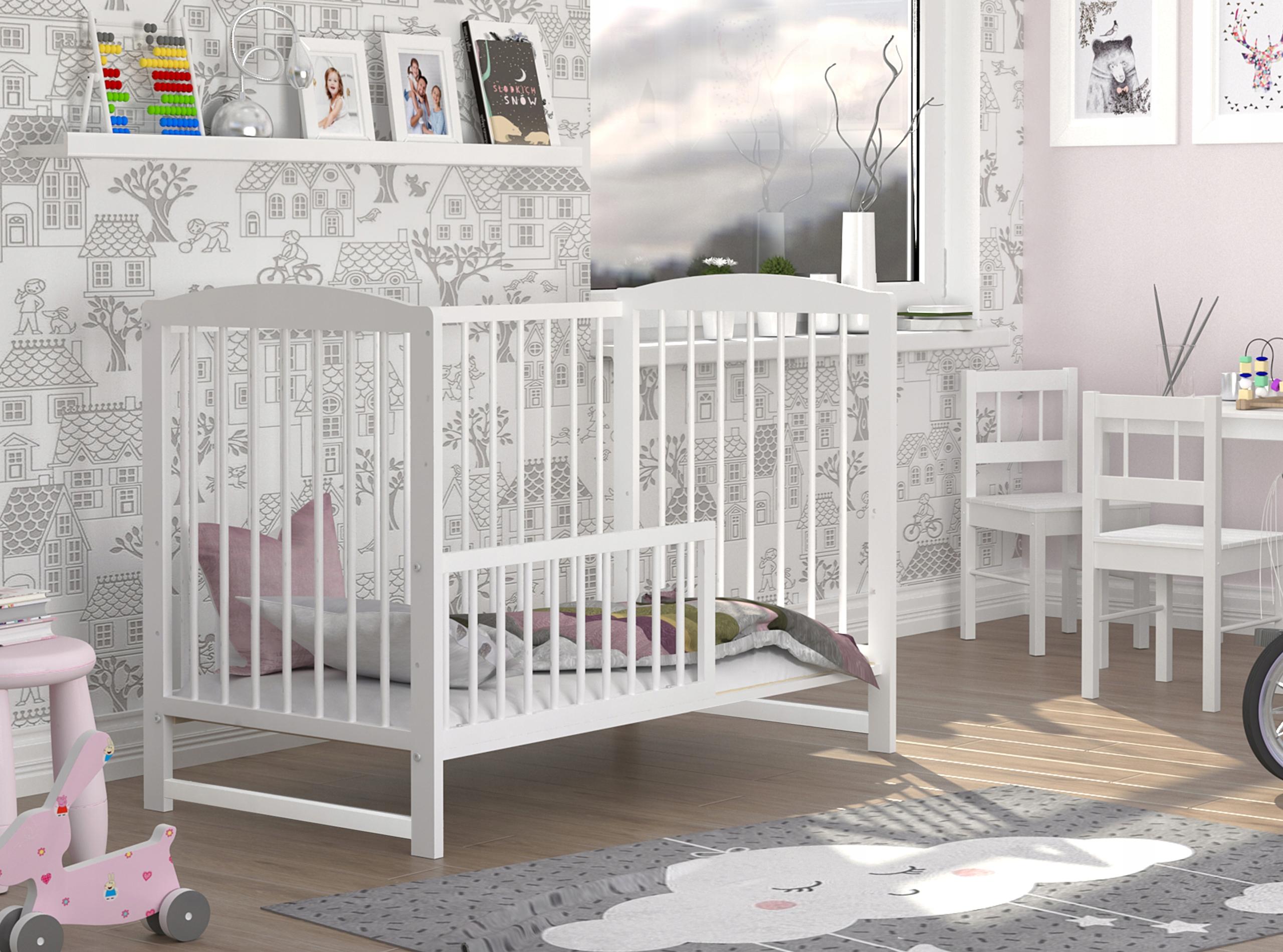 Łóżeczko dziecięce 60x120 cm ADAŚ białe 2w1 Marka inna