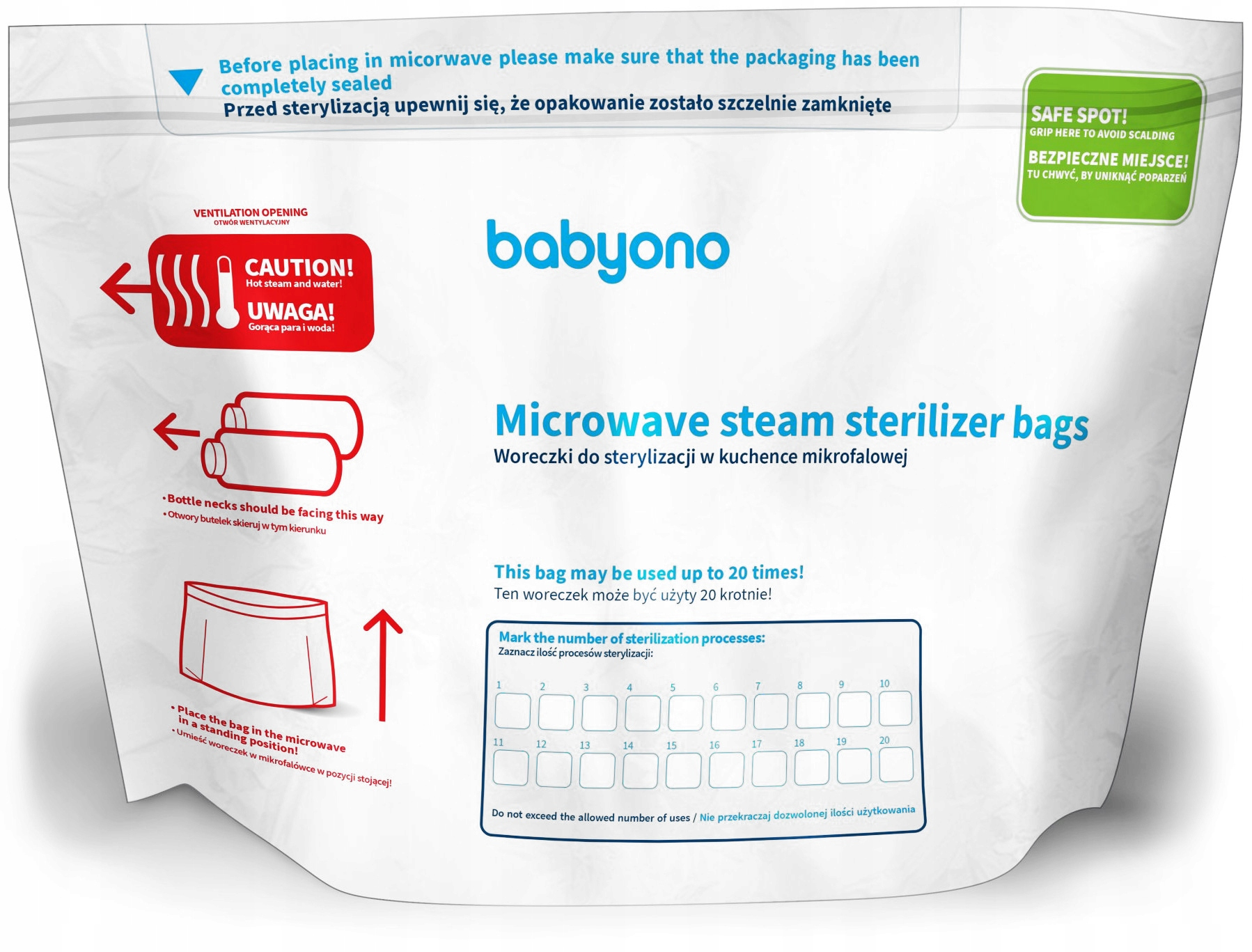 Item BABYONO bags for sterilization in microwave ovens 5pcs