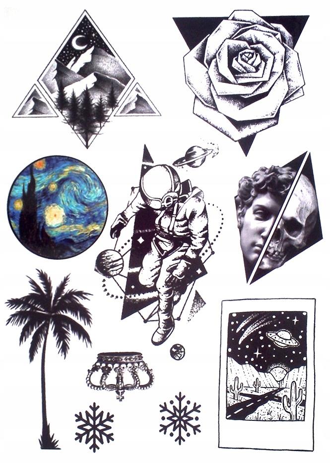P50 Tatuaż Zmywalny Tymczasowy Kosmonauta Palma