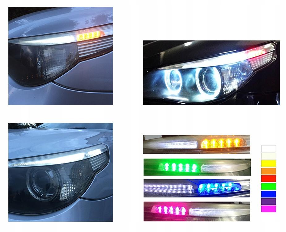 BREWKI LED BMW E60 ZYMEKLIS EYEBROWS IVAIRIOS SPALVOS