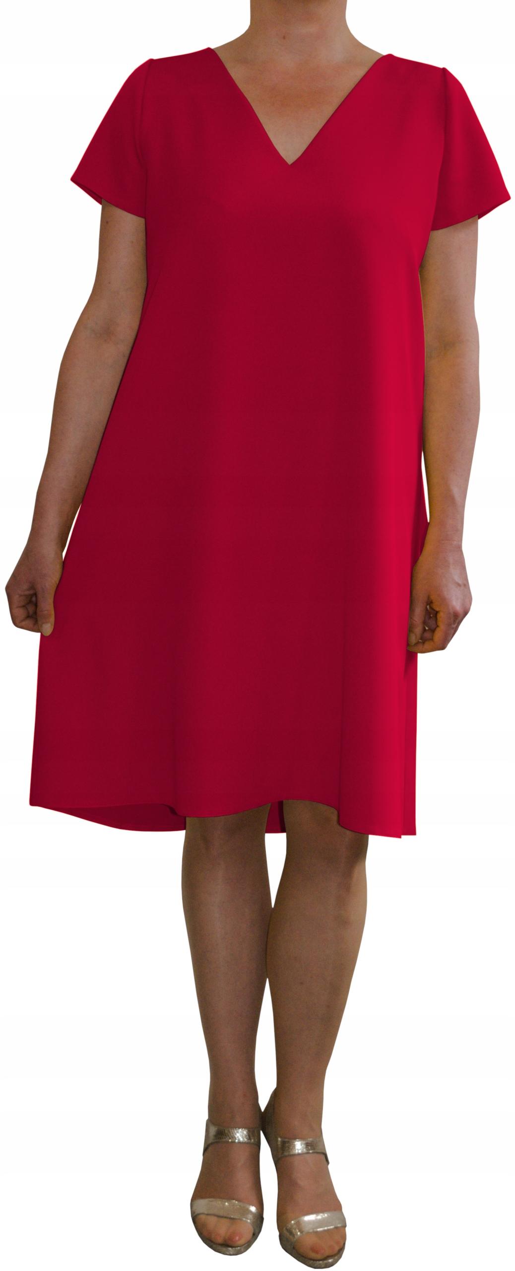 Sukienka trapez elegancka wizytowa fuksja r. 40
