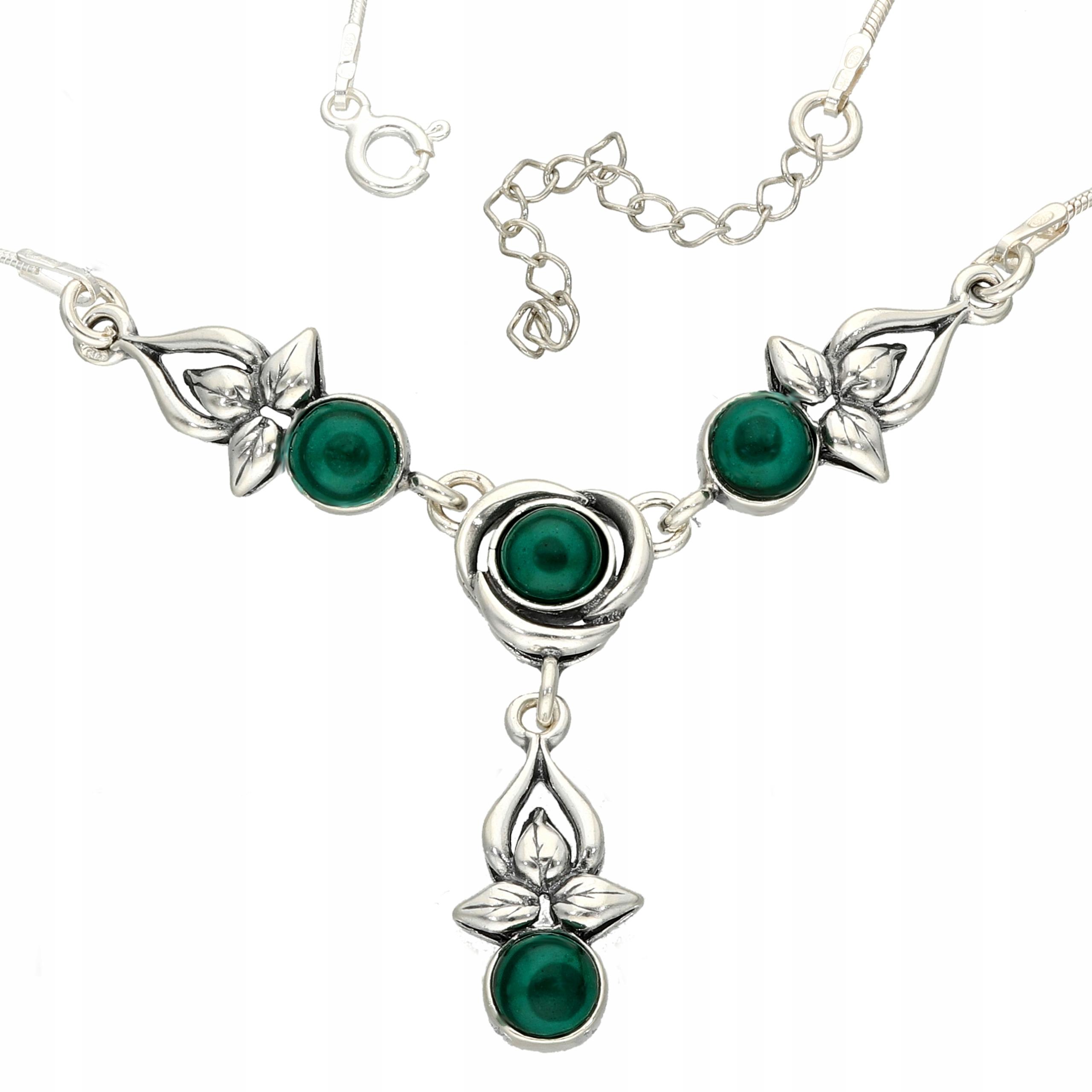NÁHRDELNÍK STRIEBORNÝ s malachitem Ďatelina náhrdelník