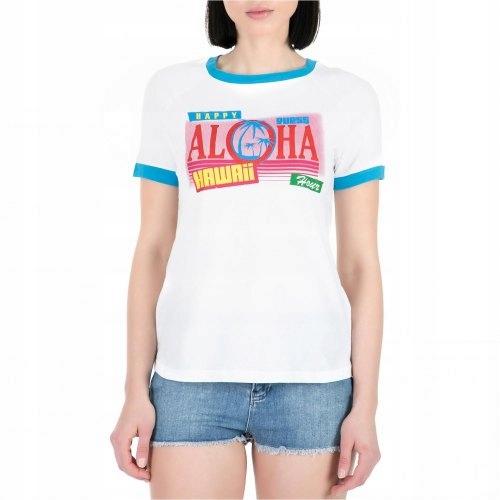 GUESS biele retro tričko havajské nápisy XS