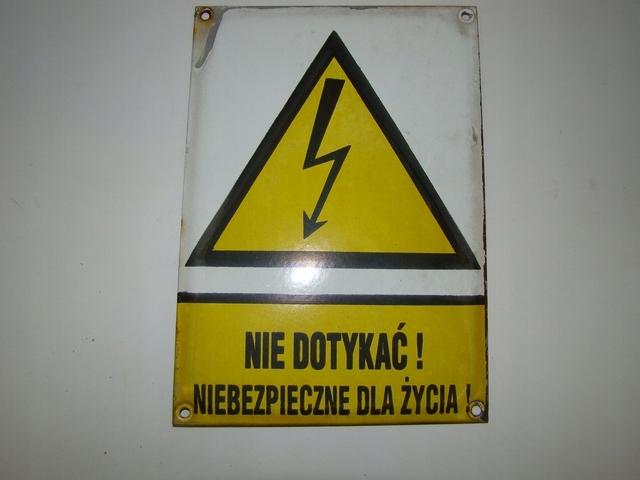 Tablica emaliowana urządzenia elektryczne