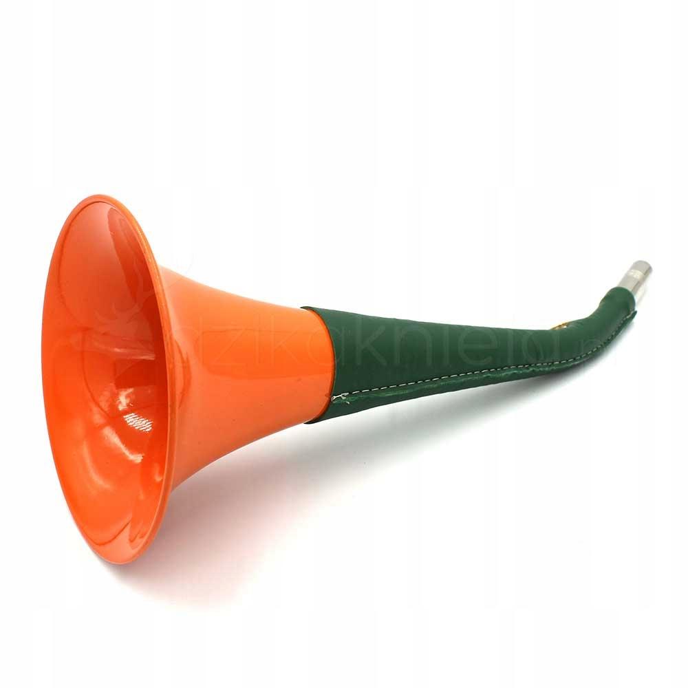 Trubka lovu oranžová zelená koža 36cm