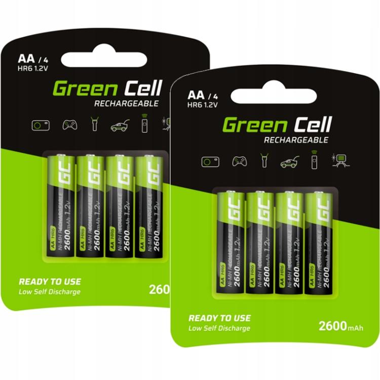 8x Akumulatorki AA R6 Green Cell 2600mAh Baterie