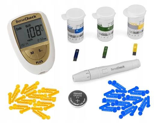 Glukometer Benecheck cholesterol meranie, kyselina močová