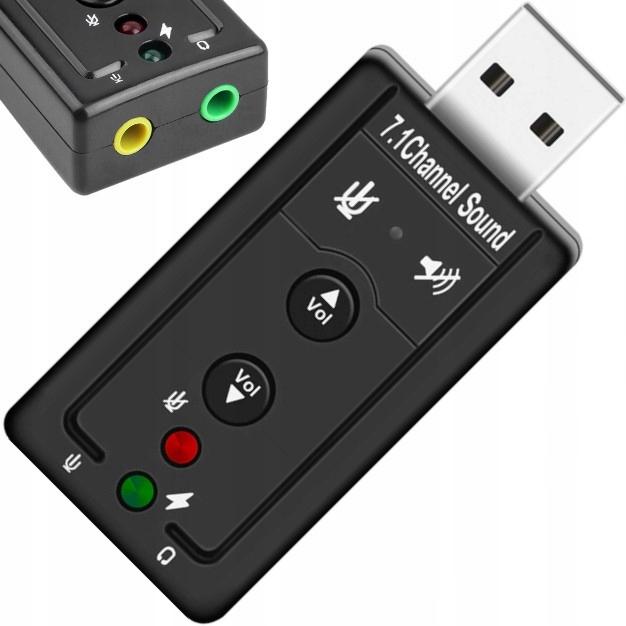 KARTA DŹWIĘKOWA USB 7.1 MIKROFON SŁUCHAWKI JACK