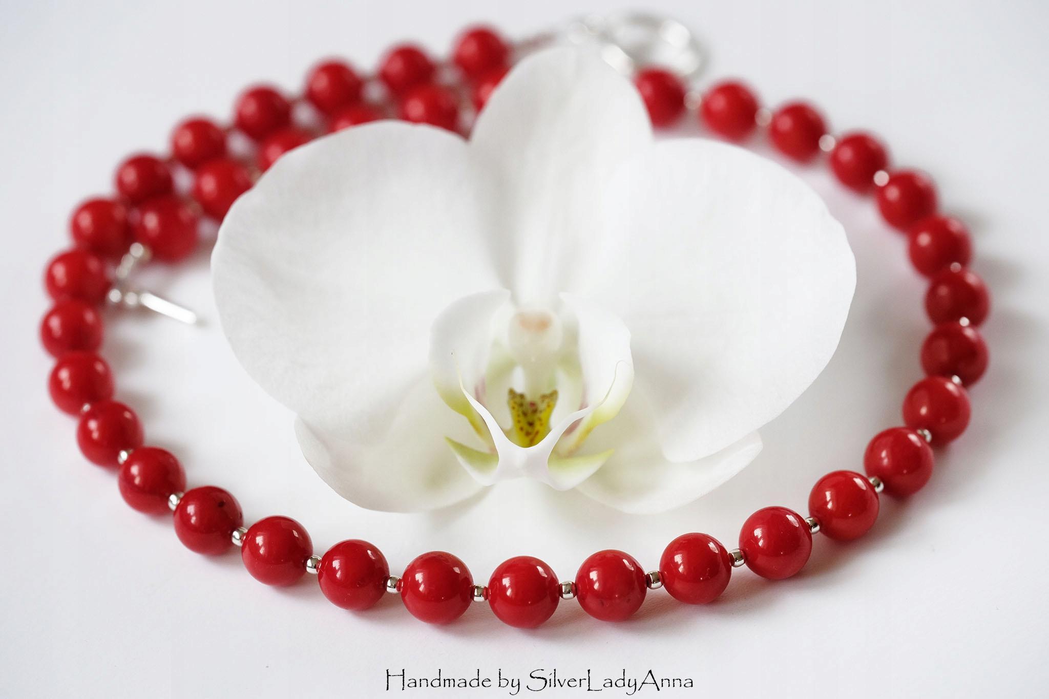 Červený náhrdelník Reálne červený korál Ag925