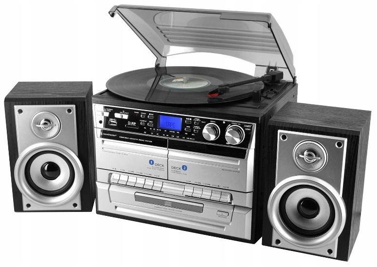 (ПРОИГРЫВАТЕЛЬ ВИНИЛОВЫХ ПЛАСТИНОК С КОЛОНКАМИ КОПИРОВАТЬ ВИНИЛЫ В MP3 РАДИО CD) доставка товаров из Польши и Allegro на русском