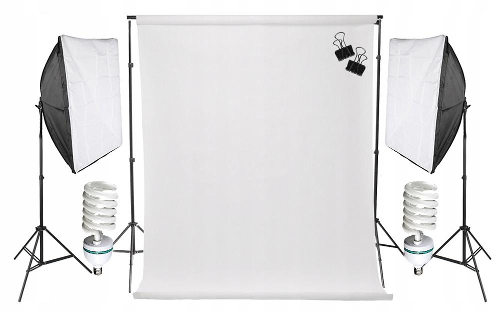 Item 2x SOFTBOX 50x70 800 W E27 WHITE backgrounds 1,6x5m TRIPODS