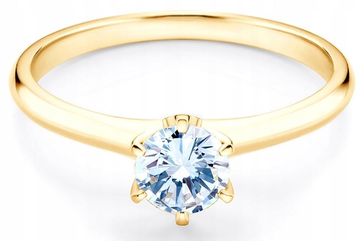 Złoty Pierścionek Zaręczynowy SAVICKI Szafirem 585