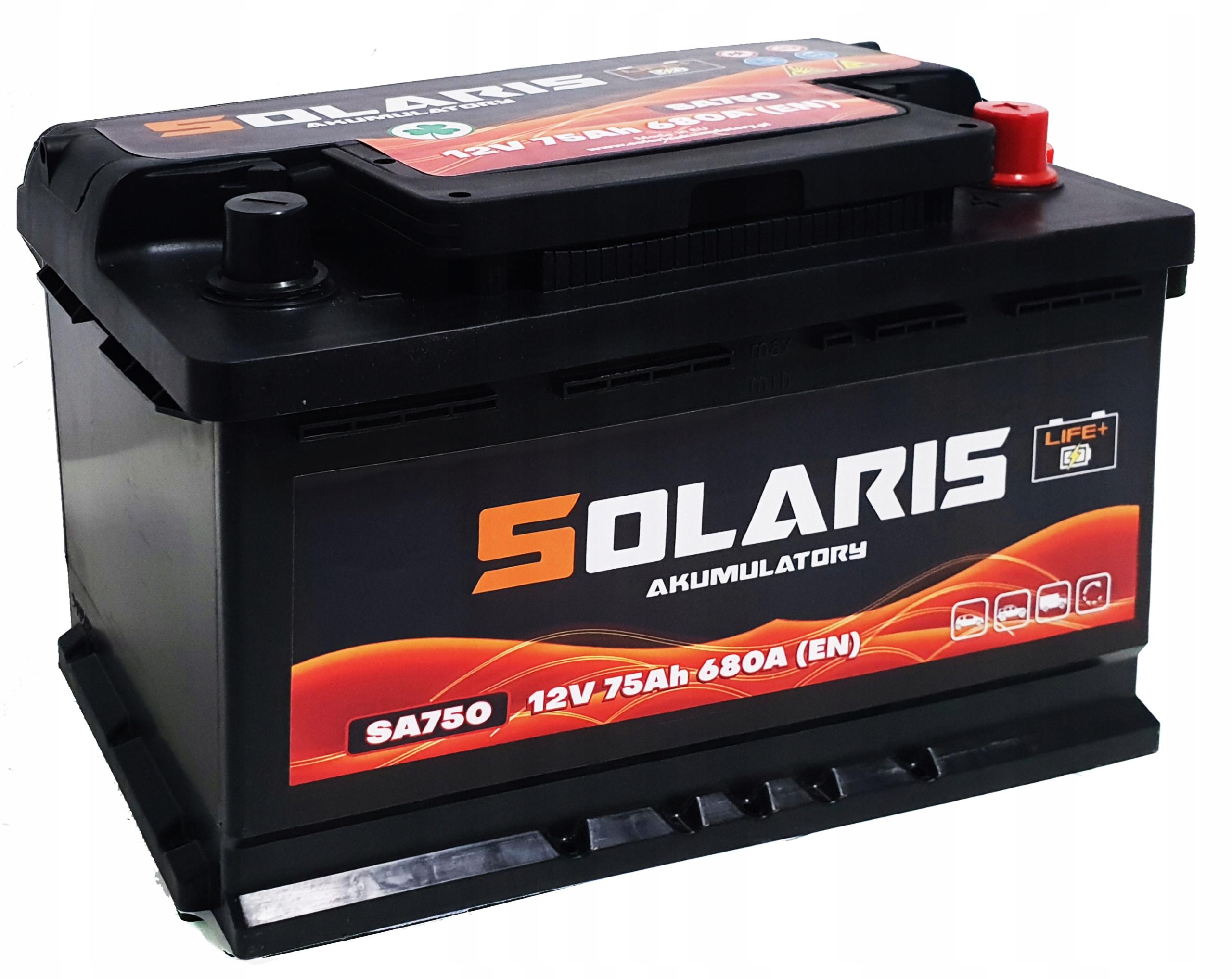 аккумулятор solaris они 74ah 75ah 680a