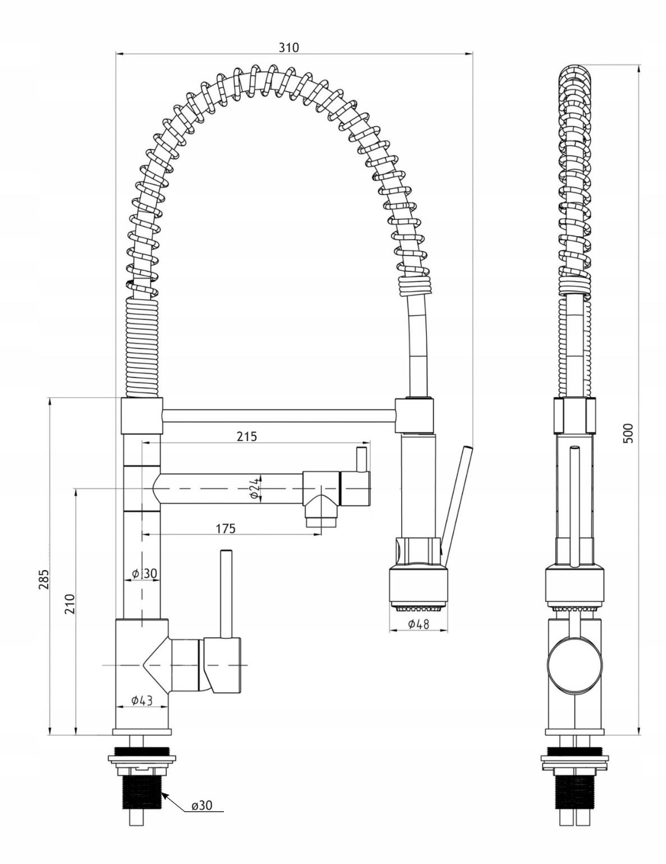 Bateria kuchenna Duo rysunek techniczny