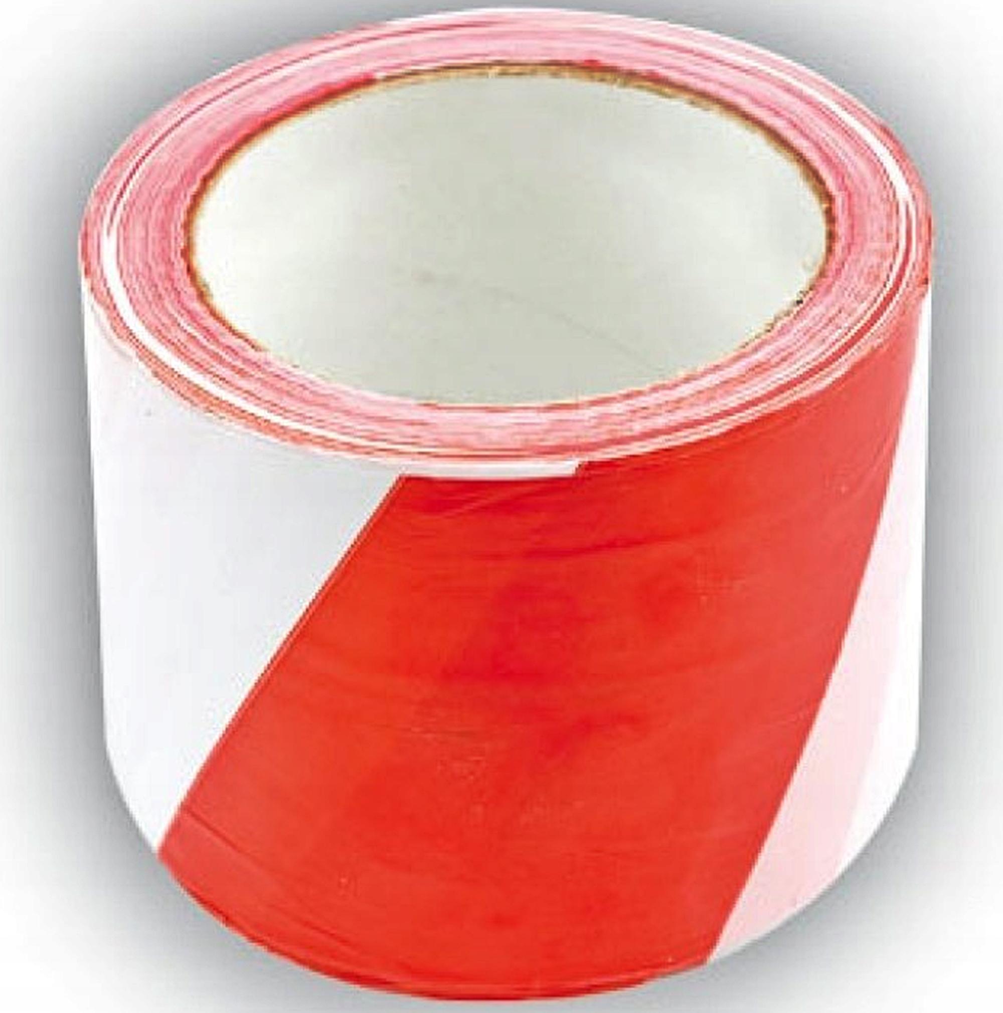 Предупреждающая лента белый и красный, 100м 10001