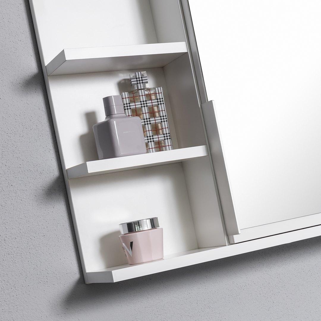 Купить Белый зеркальный шкафчик, шкаф для ванной, L полки на Otpravka - цены и фото - доставка из Польши и стран Европы в Украину.
