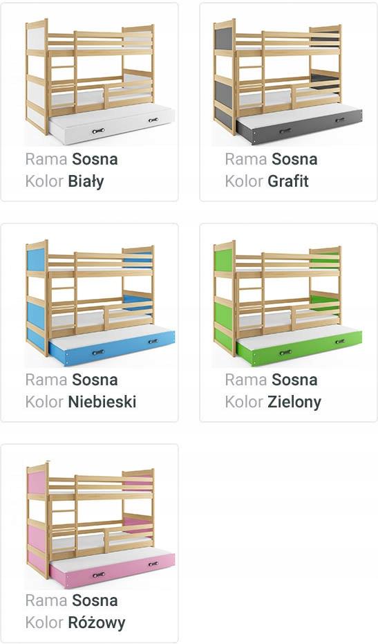 Łóżko Rico dla dzieci 190x80 piętrowe 3 osobowe Waga (z opakowaniem) 70 kg