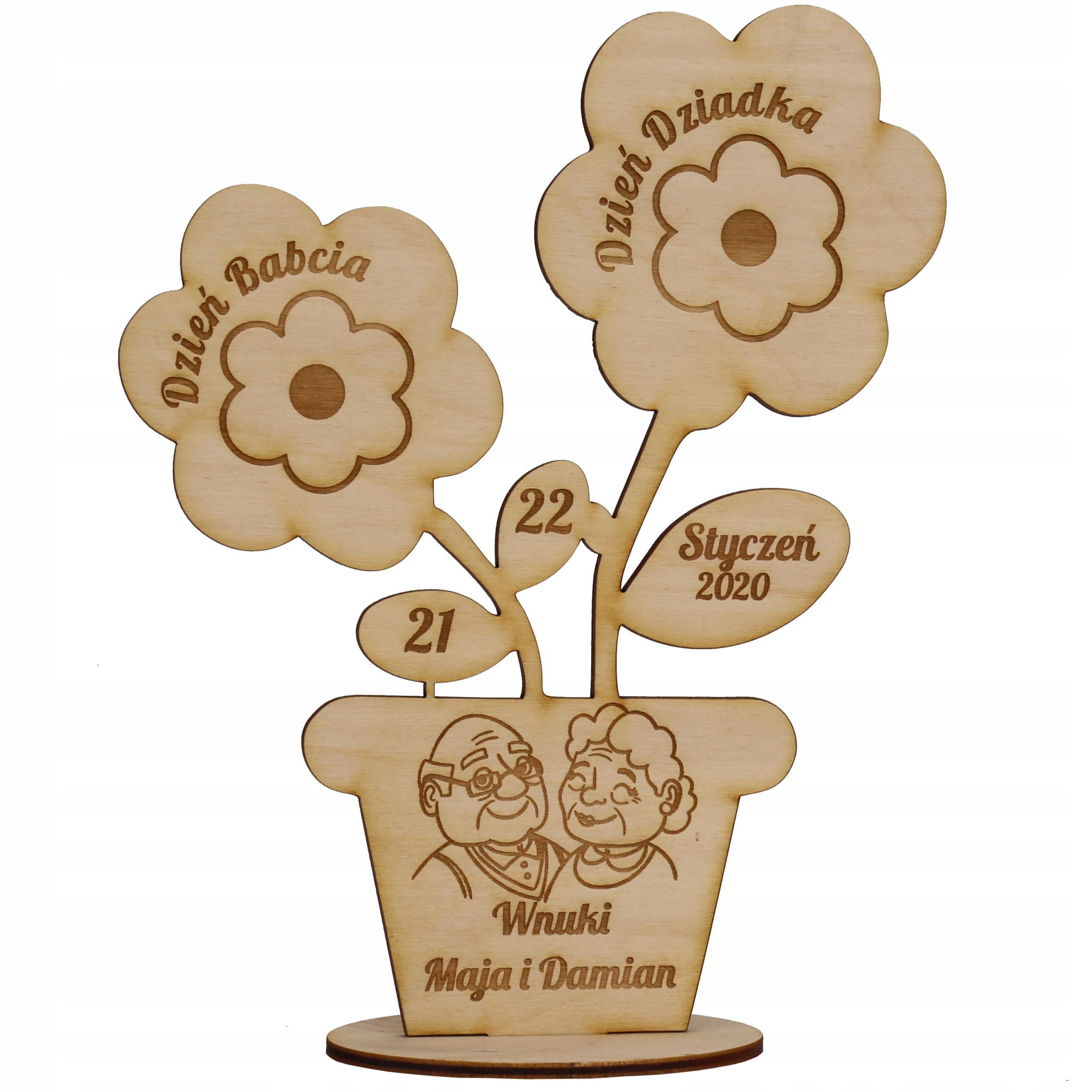 Выгравированные цветы Подарок бабушке и дедушке