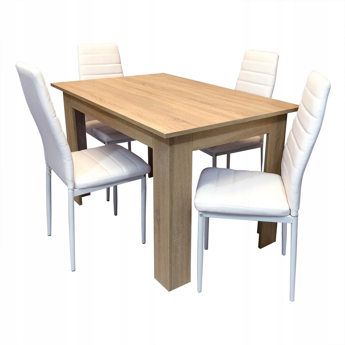 комплект стол сонома 4 стулья Ницца, Милан белое