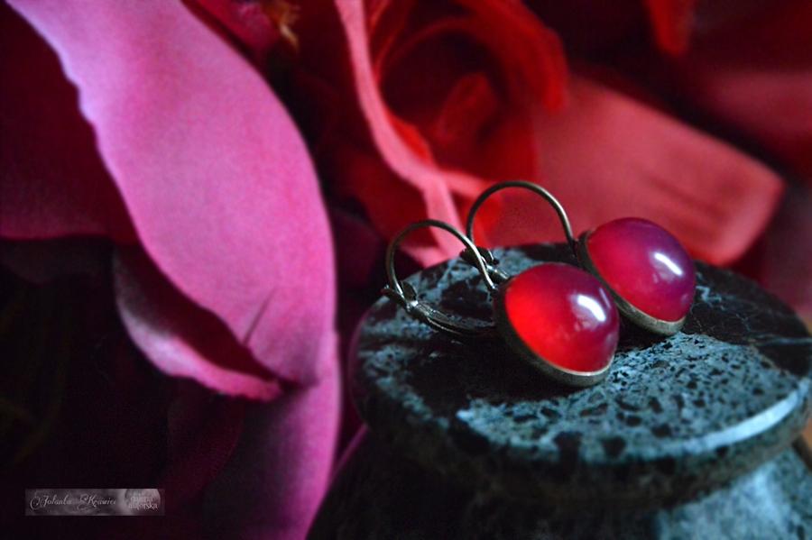 Brazílsky red achát vintage Náušnice