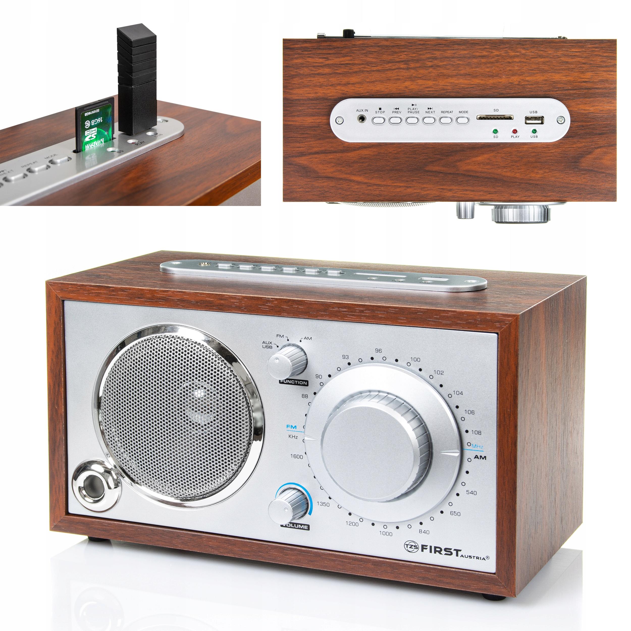 Radio Retro Klasyczne USB SD DREWNO First Austria