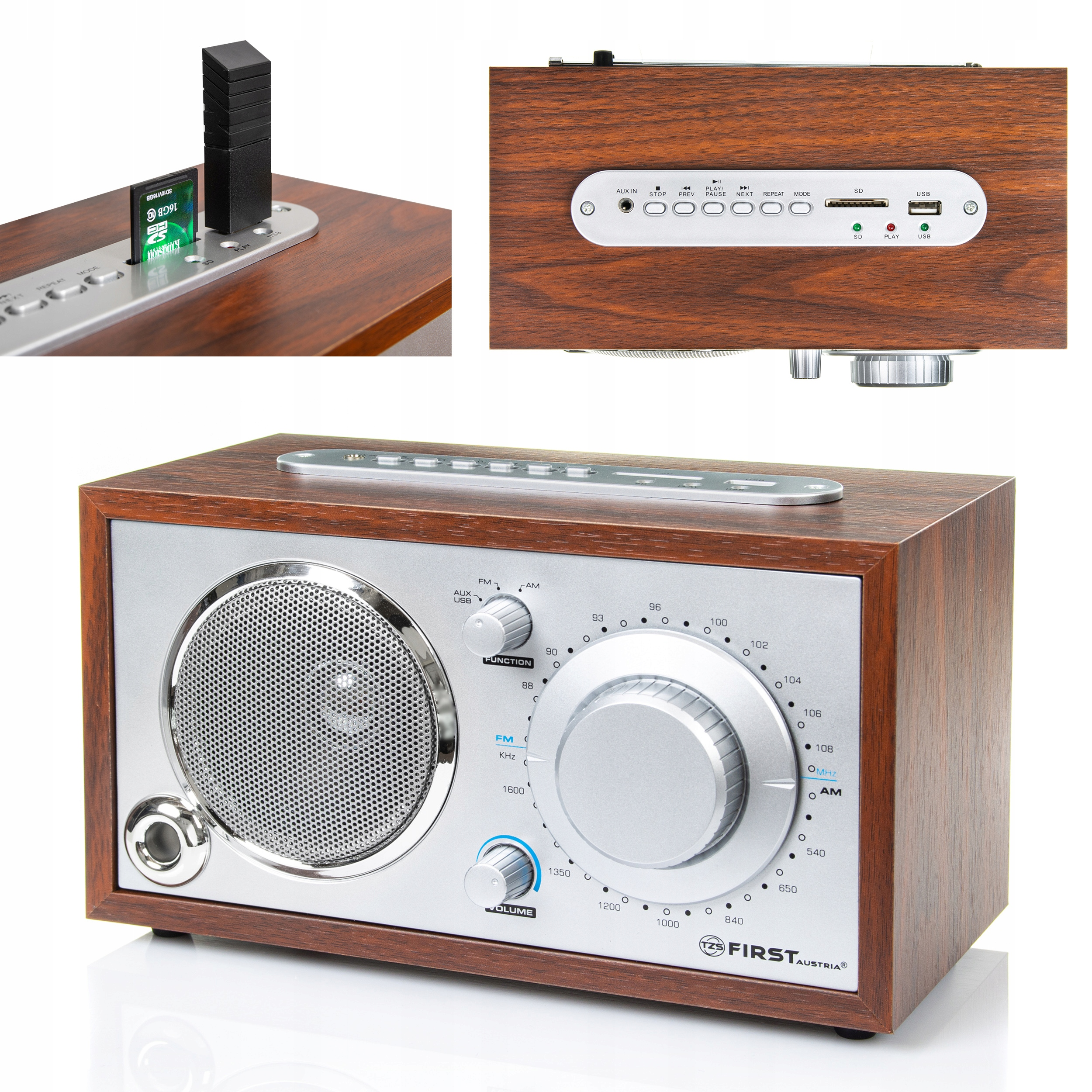 Радио Ретро Классик USB SD WOOD First Австрия
